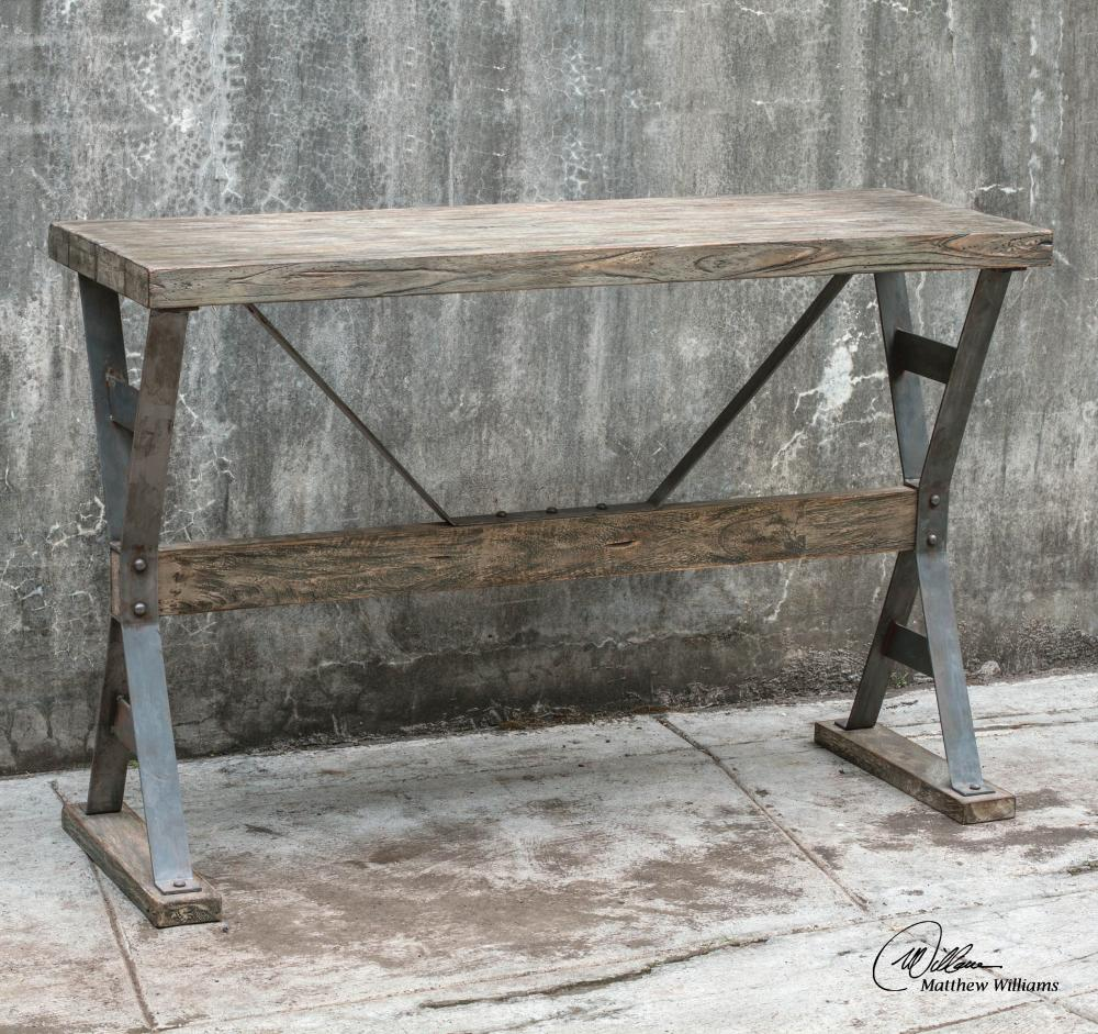 Uttermost Makoto Wooden Industrial Sofa Table & Uttermost Makoto Wooden Industrial Sofa Table : 25656 | Burr Ridge ...