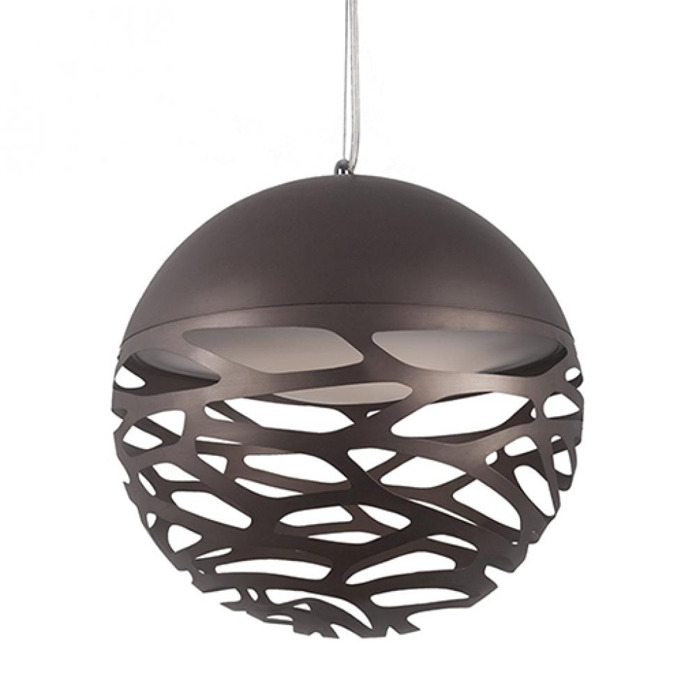 Single LED Pendant with Organic Shaped Laser Cut Metal